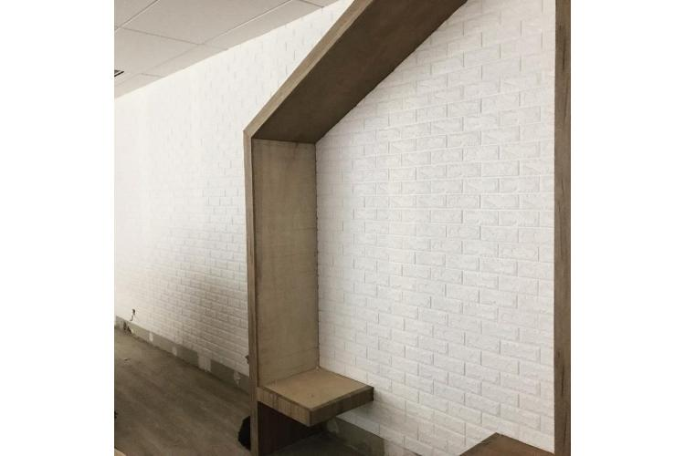 3D самозалепващ стикер Classical brick design, бял