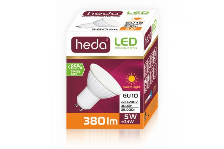 HEDA LED bulb 5W, GU10, warm light