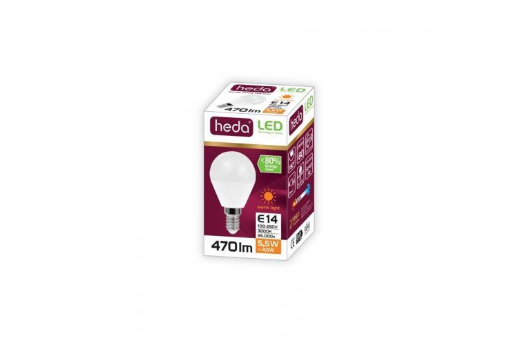 HEDA Led bulb ball 5.5W E14, warm light