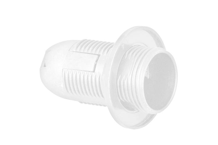 Plastic lamp socket E14, fully-threaded, white