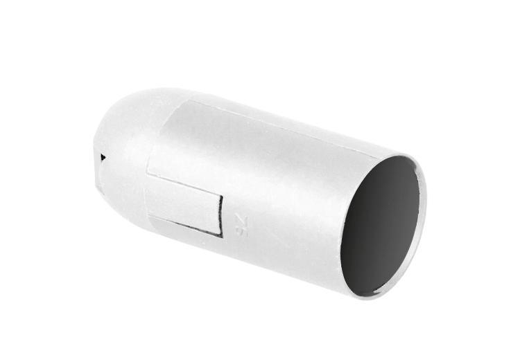 Plastic lamp socket E14, smooth, white