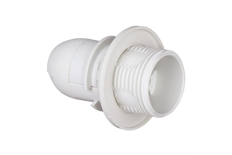 Plastic lamp socket E14, half-threaded, white