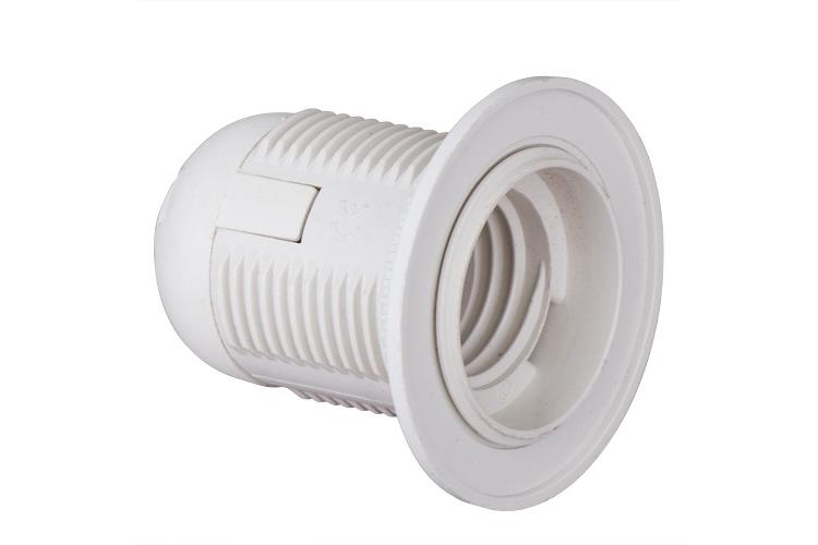 Plastic lamp socket E27, fully-threaded, white