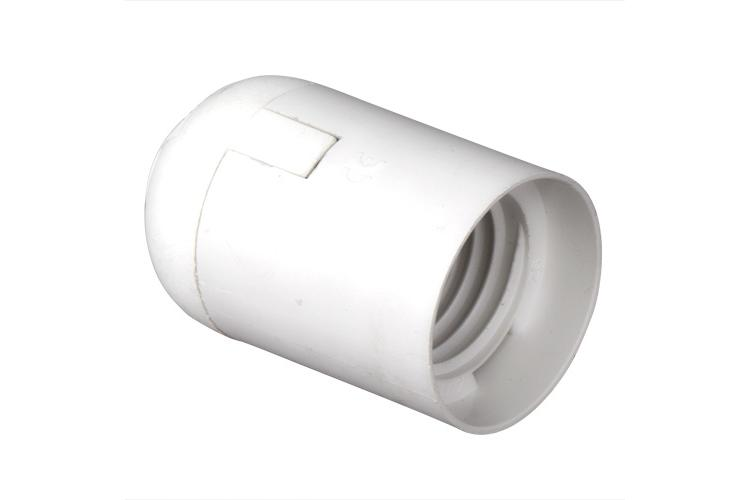 Plastic lamp socket E27, smooth, white
