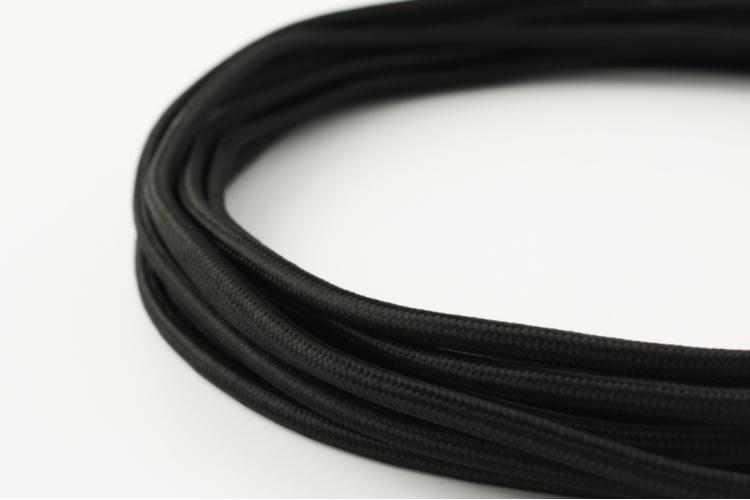 Текстилен кабел 2х0.5мм2 черен